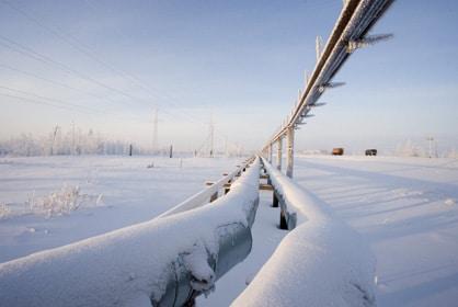 conduites de gaz naturel sous la neige